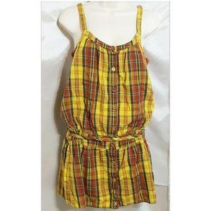 Hurley Plaid Sleeveless Long Tunic Swimsuit Cover